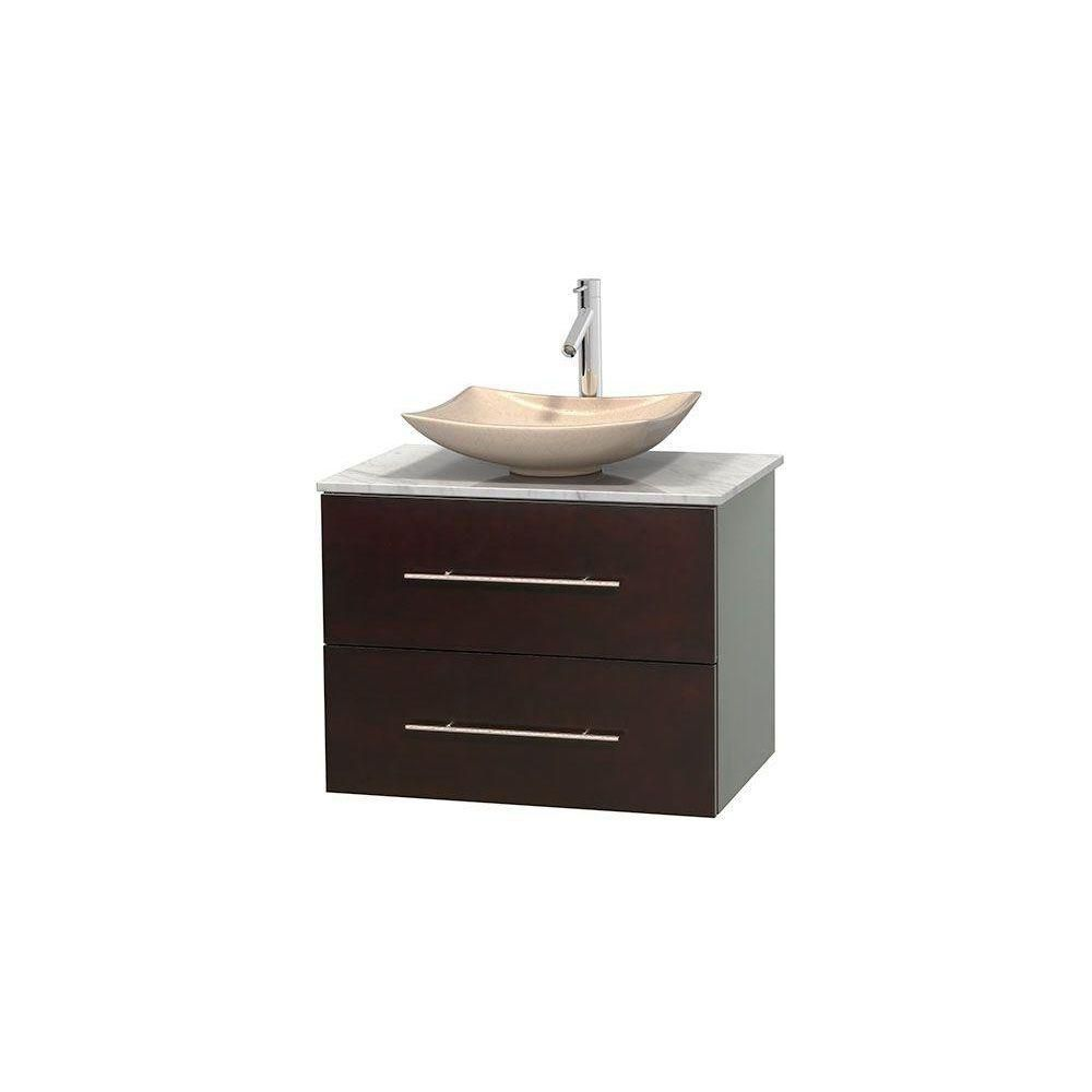Centra 30-inch W Vanity in Espresso with White Top with Ivory Basin